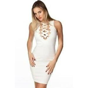 Bandage Lace Up D-ring Midi Dress